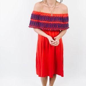 ASOS Red & Blue Off The Shoulder Dress